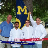 Dr. Olsen with UM Dental Students Yazdan Haider, Lucio Persichetti, Peter VanBeck